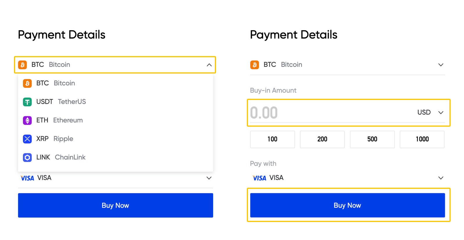 Payment methods to Buy Crypto Step 2