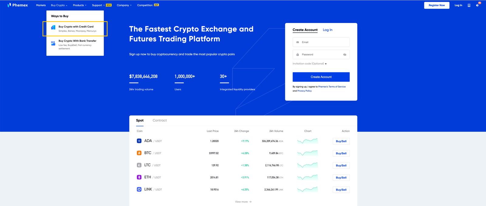 Buy Crypto Step 1